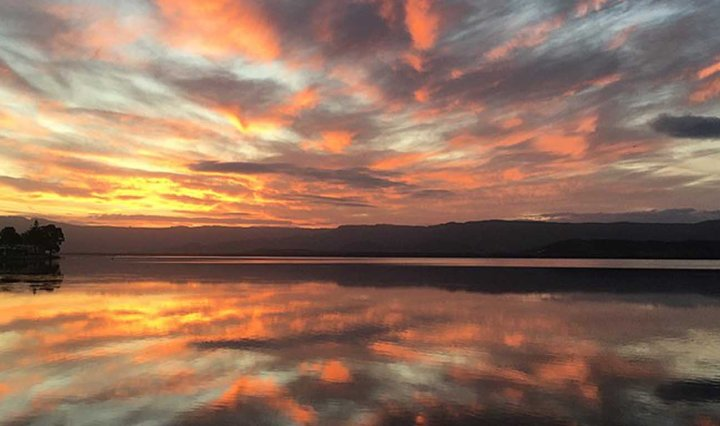 Sunsent over lake in Illawarra