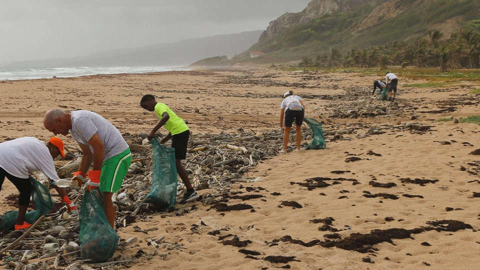 White and Black people pick up rubbish at a beach