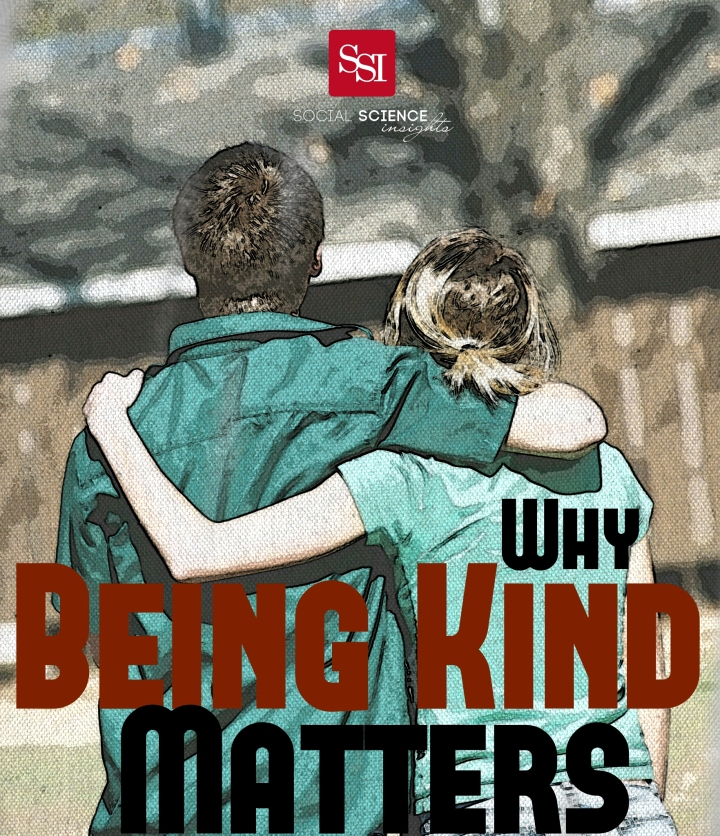 A white man and white woman have their arms around another's backs. Text reads: Why being kind matters