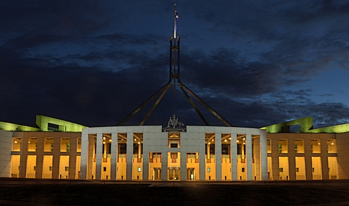Parliament House, Canberra, lit up at night