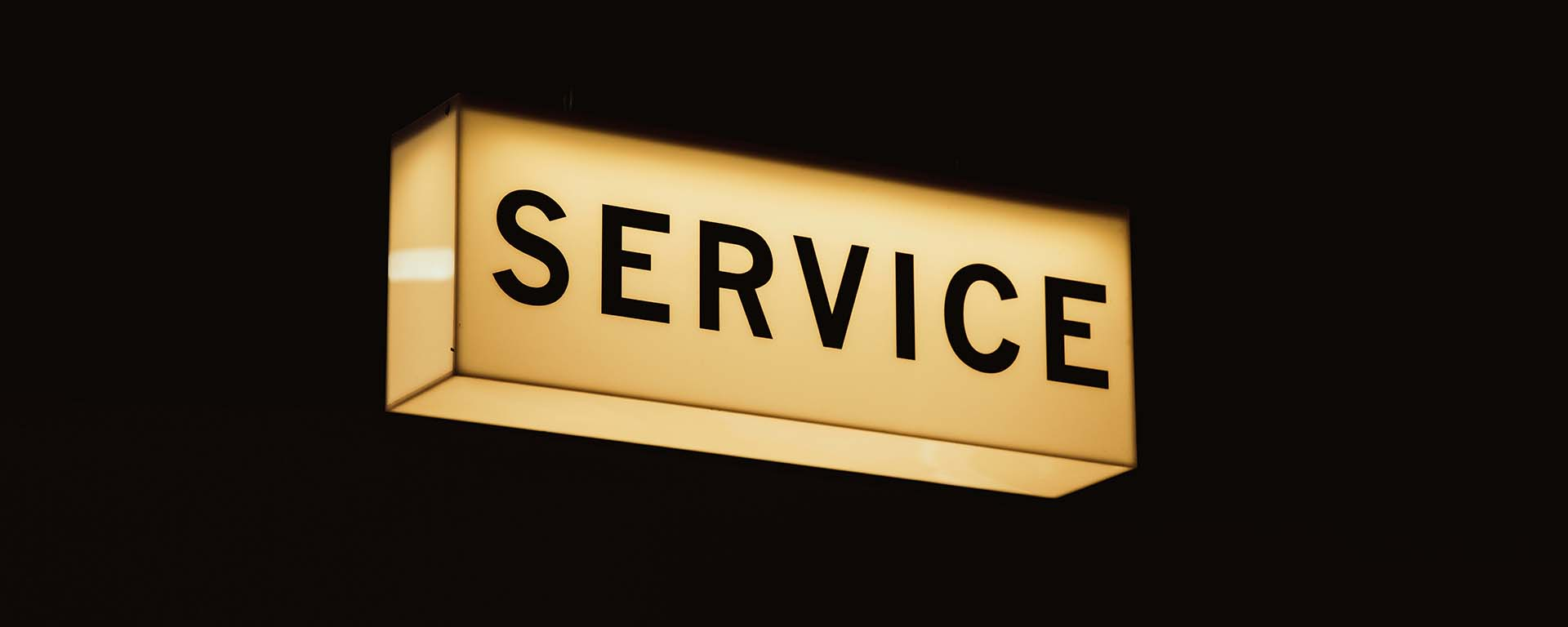 Sign saying: service