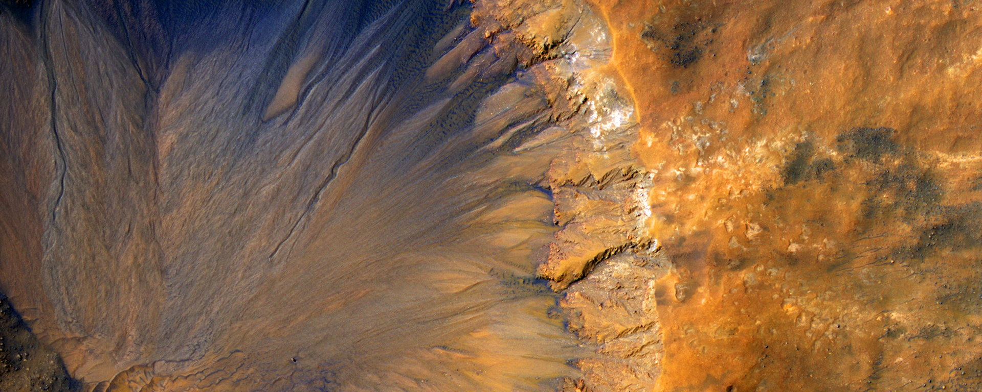 Aerial picture of a large crater on mars