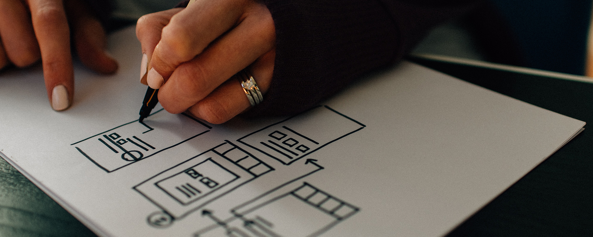 Close up of a Brown woman's hands draws a process map