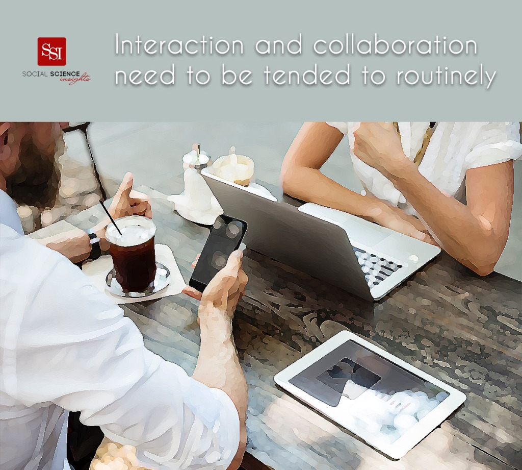 A white man and white man sit at a cafe with their laptops. Text: interaction and collaboration need to be tended to routinely