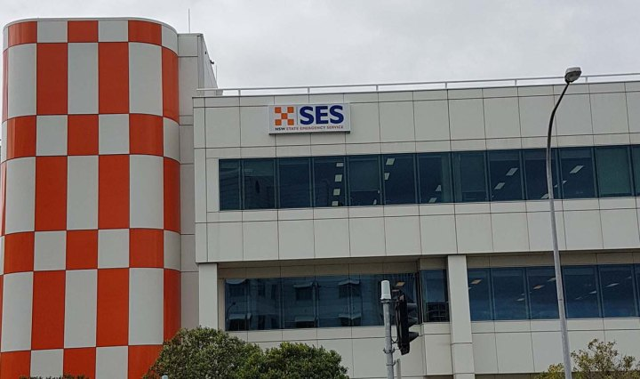 SES building in Wollongong has a bright orange and white tile facade