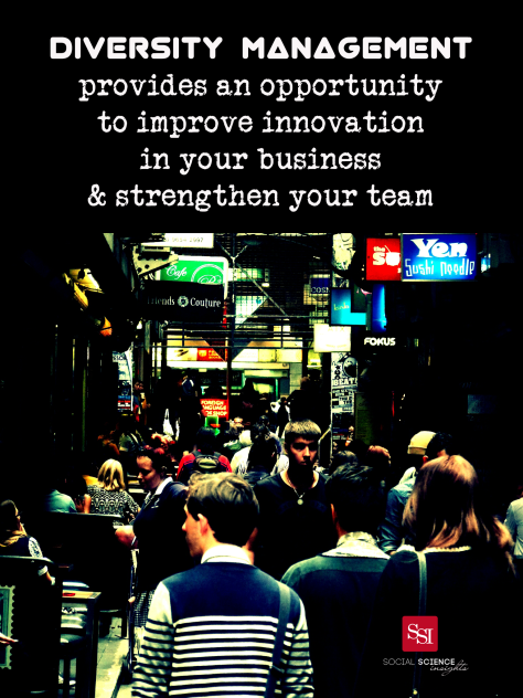 People walking down a Melbourne alley. Text: diversity management provides an opportunity to improve innovation in your business and strengthen your team