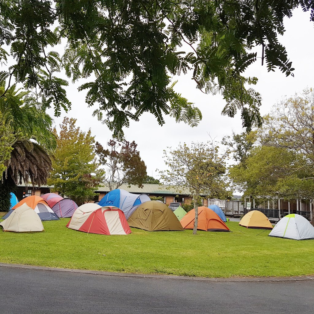 A group of colourful tents on a camping ground