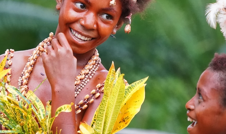 Two young Black girls Performers in a Sing Sing in Papua New Guinea