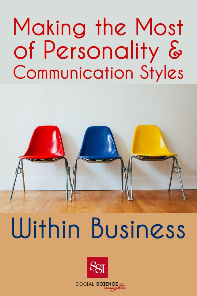 Three brightly coloured chairs against a wall. Text at top: making the most of personality and communication styles