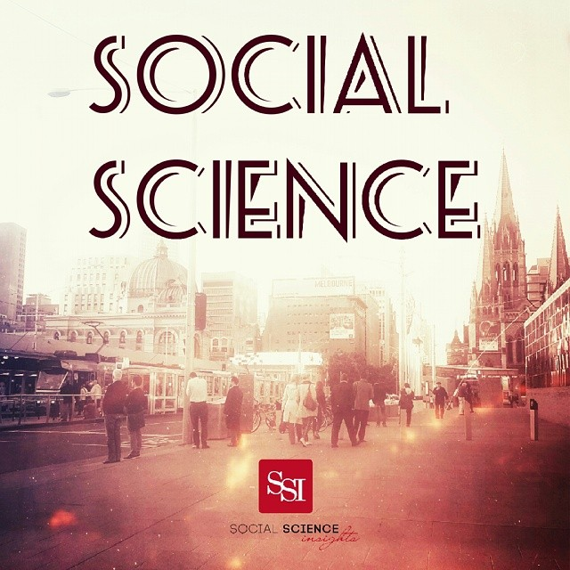 People walking through a hazy street. Text says: Social science