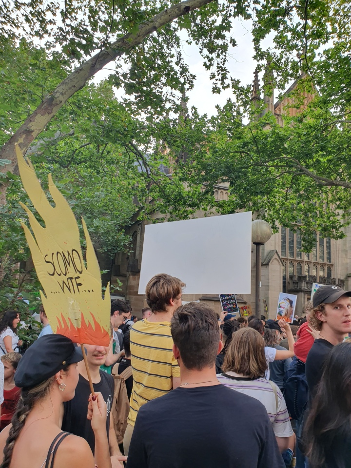 Protest sign in the shape of fire, with a message: Scomo WTF