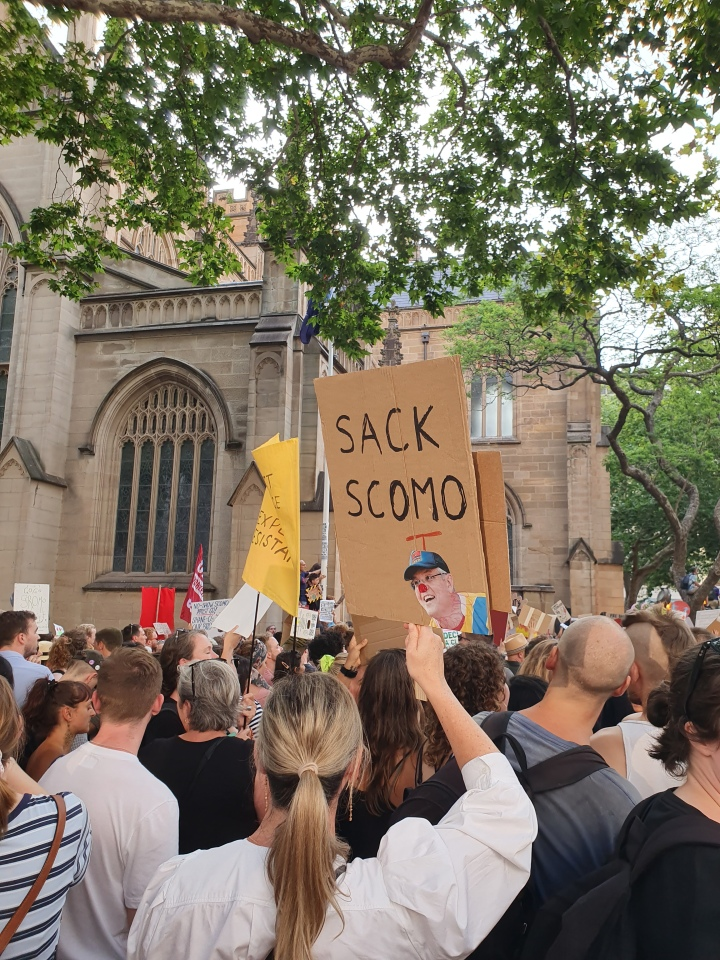Protest sign shows the Australian Prime MInister with a clown hat and nose. The sign reads: Sack Scomo