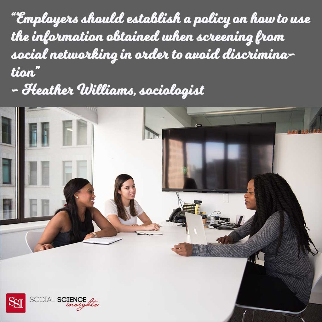 """Two Black women and a white women sit in an office talking. Quote reads: """"Employers should establish a policy on how to use the information obtained when screening from social networking in order to avoid discrimination"""""""