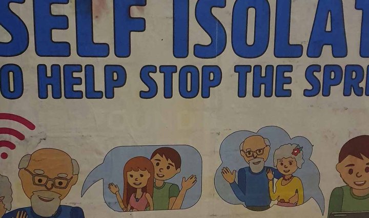 """Poster with drawings of an elderly couple using wifi to communicate with another younger couple. Title says: """"Self isolate to help stop the spread."""""""
