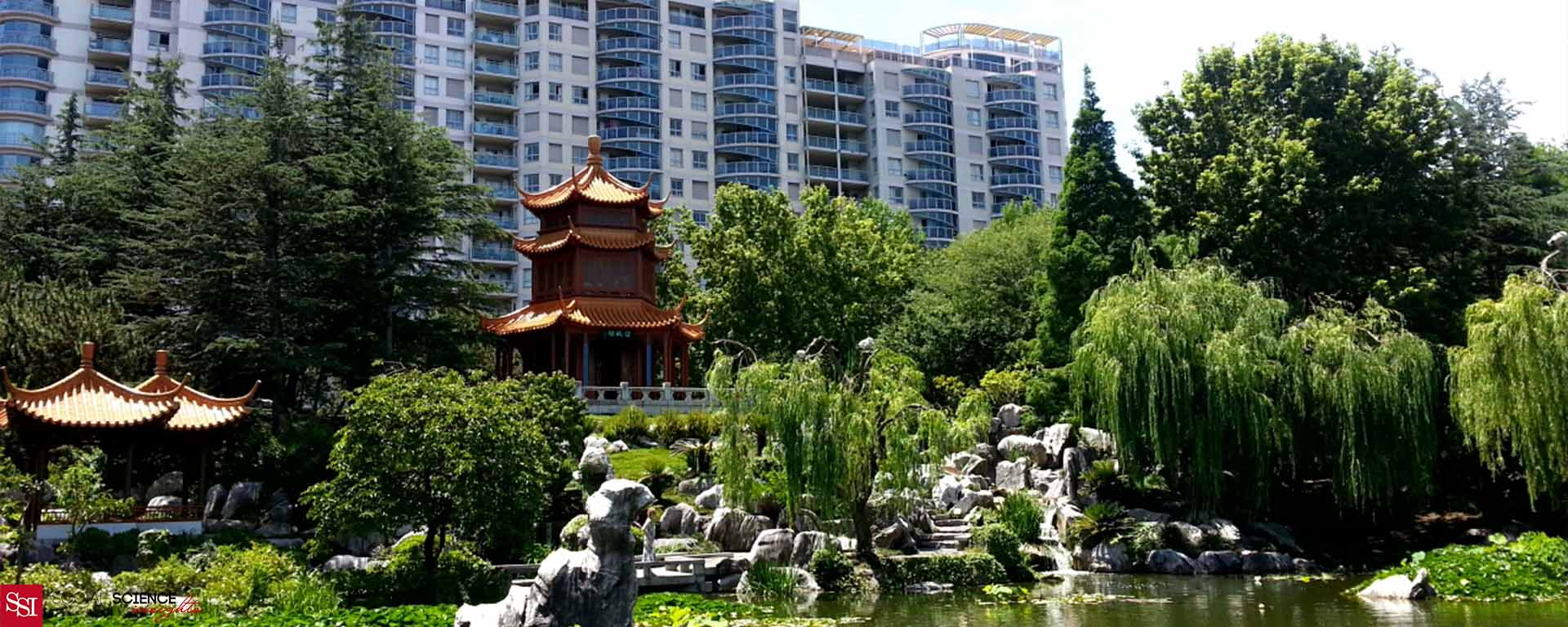 The Chinese Friendship Garden in Sydney in the foreground. Water, a beautiful Chinese temple. In the background are tall buildings in the Sydney CBD