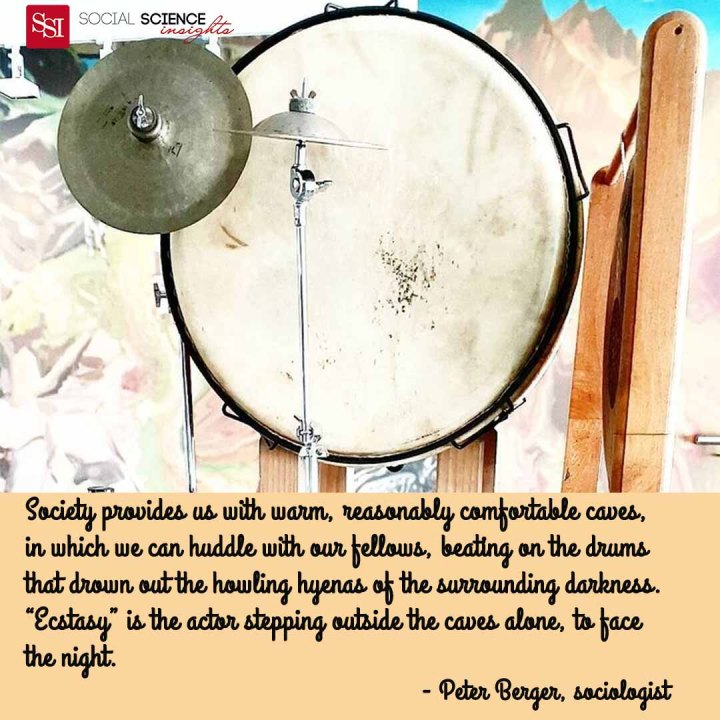 """A beautiful white drum suspended. Quote: Society provides us with warm, reasonably comfortable caves, in which we can huddle with our fellows, beating on the drums that drown out the howling hyenas of the surrounding darkness. """"ecstasy"""" is the actor stepping outside the caves alone, to face the night."""